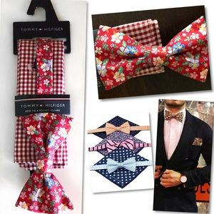 Tommy Hilfiger Floral Bow Tie & Pocket Square